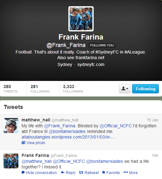 Frank Farina ends the affair.