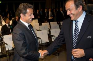 Sarkozy and Platini get cozy. And, all things considered, so would you. Wouldn't you? Oh.