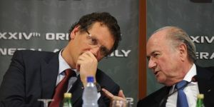 Valcke and Blatter discuss a weekend party in Corsica. Possibly.
