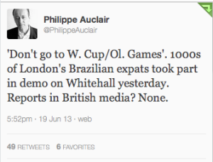 Journalist Phillipe Auclair tweets about London protests.