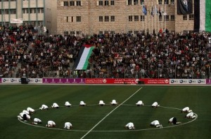 Palestine's national team before its first-ever home game in 2008.