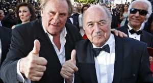 French actor Gerard Depardieu and Sepp Blatter give United Passion a thumbs up.