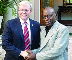 At the time Australian Prime Minister, Kevin Rudd shakes hands with then FIFA Exco member Jack Warner who it is alleged 'stole' a donation from Australia's FFA.  Warner denies the allegations.