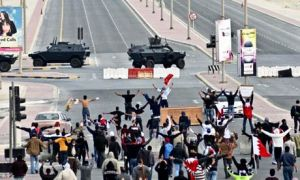 Protesters take to the streets of Bahrain in 2011.